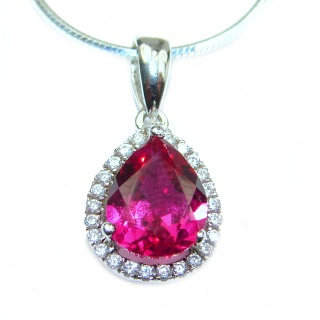 CHic Boho Style Genuine Ruby .925 Sterling Silver handmade necklace
