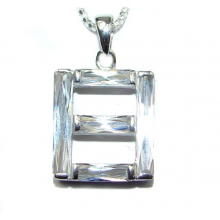 Huge Victorian White Topaz .925 Sterling Silver necklace
