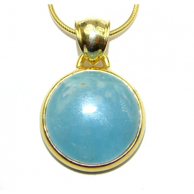 True Art genuine Aquamarine 14K Gold over .925 Sterling Silver handcrafted necklace