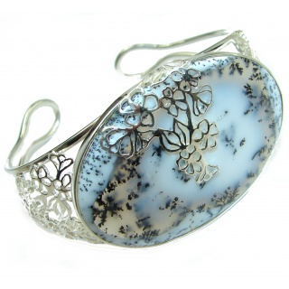 Huge Dendritic Agate oxidized .925 Sterling Silver handcrafted Bracelet