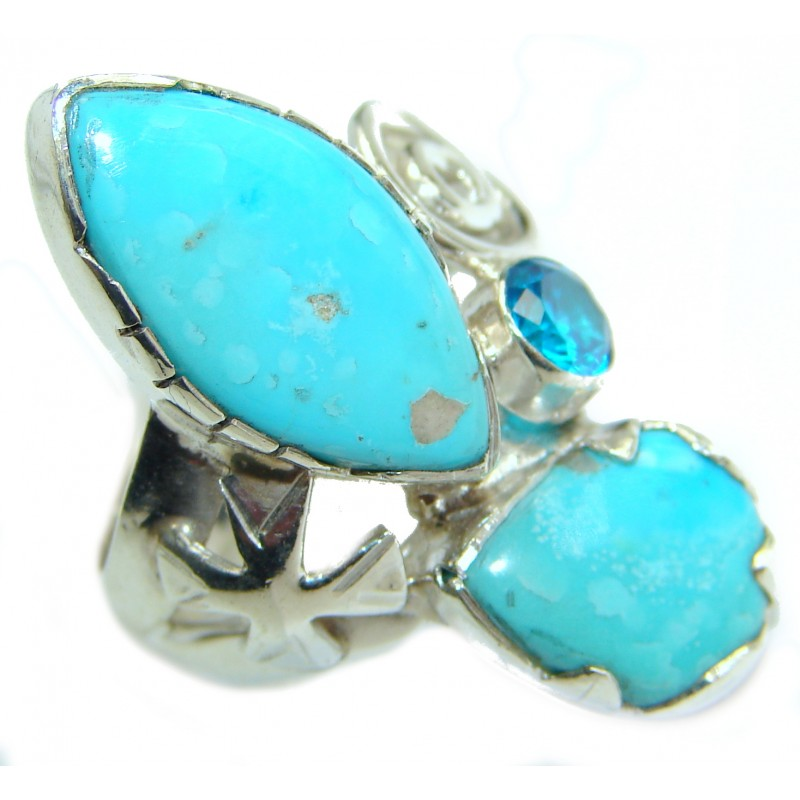 Genuine Sleeping Beauty Turquoise .925 Sterling Silver Ring size 7