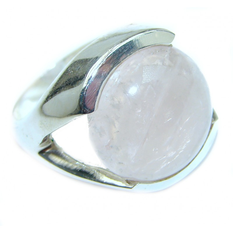 Best Quality Rose Quartz .925 Sterling Silver ring s. 7 1/4