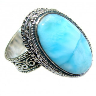 Blue Treasure Larimar .925 Sterling Silver handmade ring s. 8 adjustable