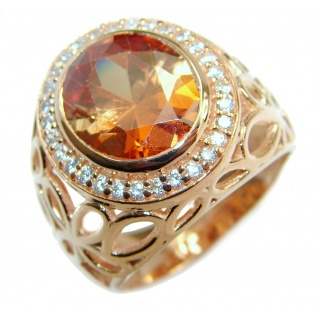 Exotic Golden Topaz Gold over .925 Sterling Silver handcrafted Ring s. 6 3/4