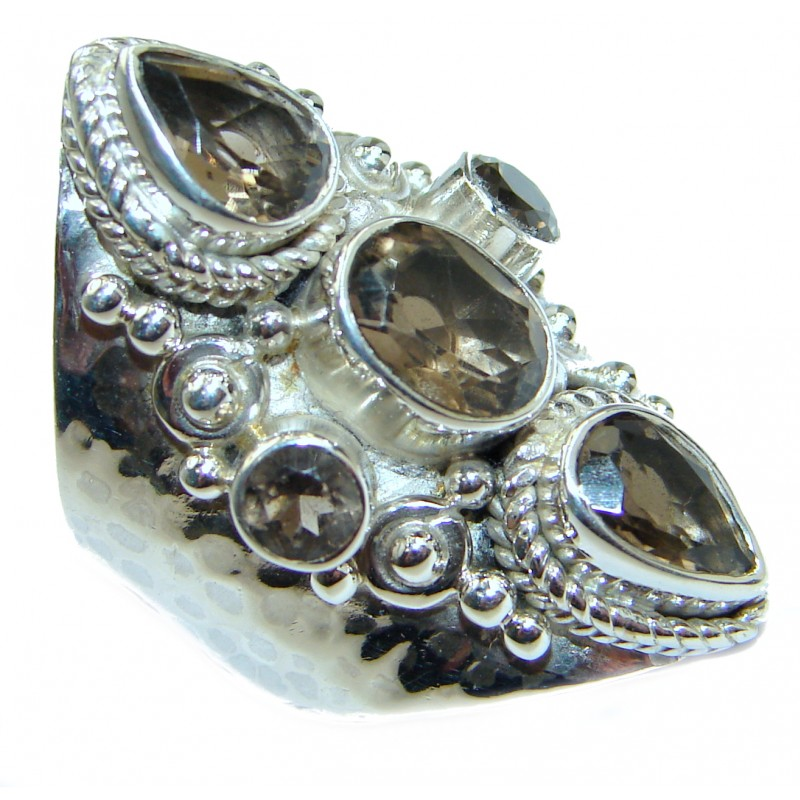 Smoky Topaz .925 Sterling Silver handmade Statement Ring s. 6