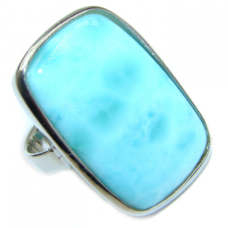 Blue Treasure Larimar .925 Sterling Silver handmade ring s. 7