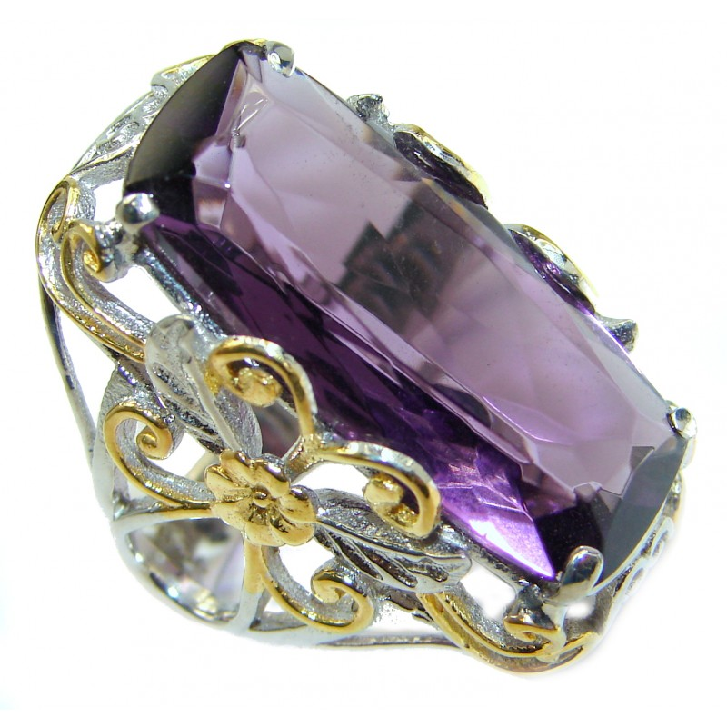 Exotic Purple Quartz two tones .925 Sterling Silver handcrafted Ring s. 5 3/4