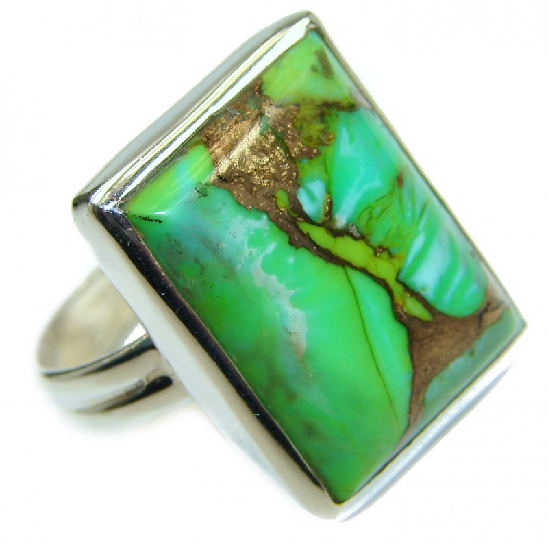 Green Turquoise .925 Sterling Silver handmade Ring s. 10 1/4