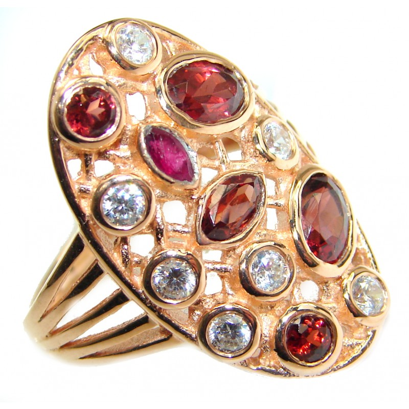 Garnet Topaz 14K Gold over .925 Sterling Silver handmade Cocktail Ring s. 8