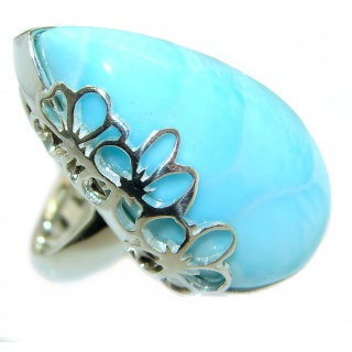 Blue Treasure Larimar .925 Sterling Silver handmade ring s. 7 1/2