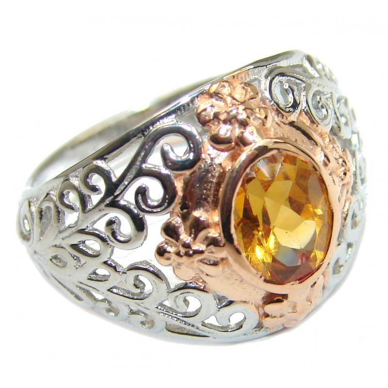 Exotic Golden Topaz Gold over .925 Sterling Silver handcrafted Ring s. 7