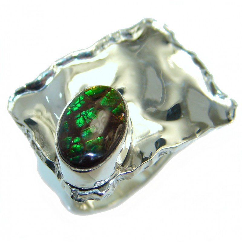 Unisex Rainbow Fire Ammolite Sterling Silver ring s. 5 1/4