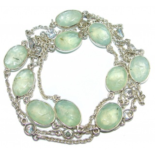 36 inches genuine Moss Prehnite White Topaz .925 Sterling Silver handmade station Necklace