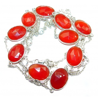 36 inches genuine Carnelian .925 Sterling Silver handcrafted Station Necklace