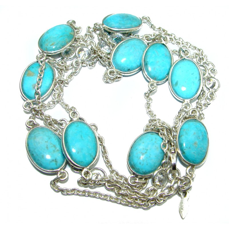 36 inches Genuine Turquoise .925 Sterling Silver handmade Station Necklace