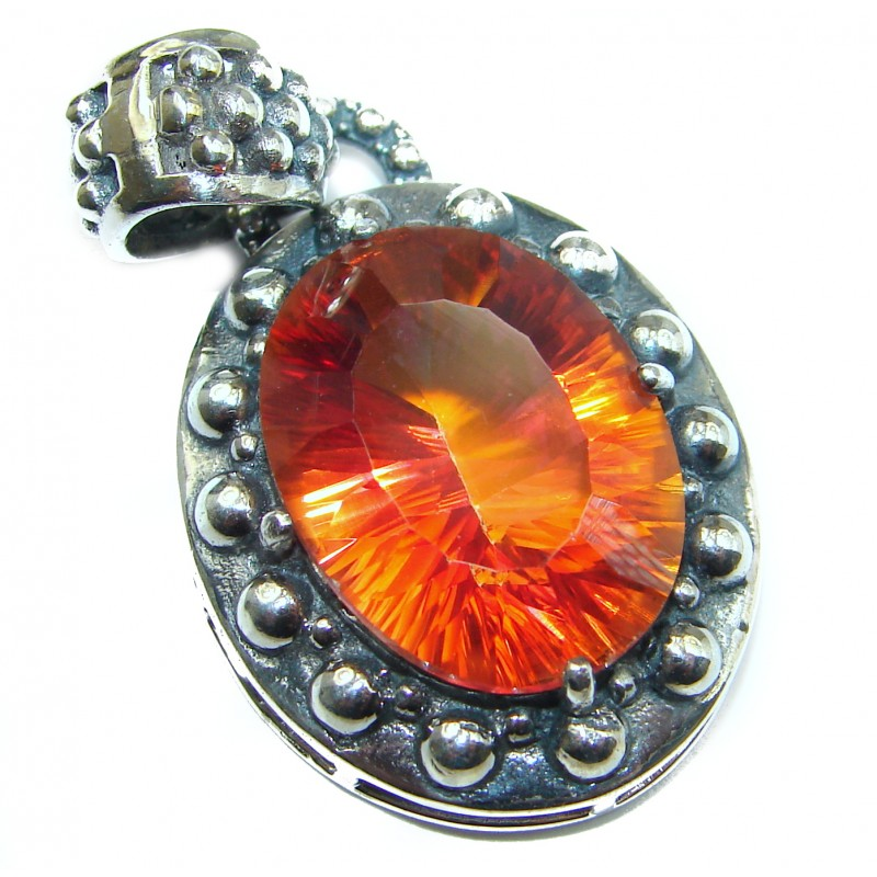 Vintage Design Rainbow Magic Topaz oxidized .925 Sterling Silver Pendant