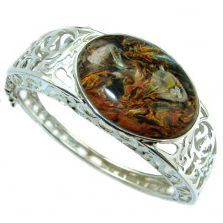 Masterpiece Genuine Golden Pietersite .925 Sterling Silver handmade Bracelet