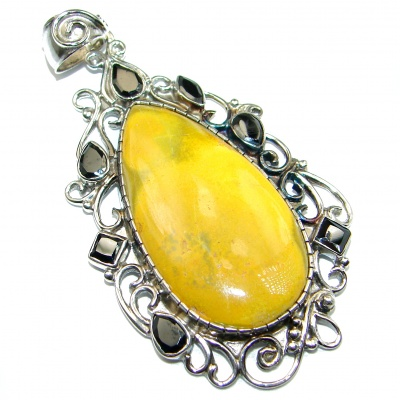 Intense Collected Storm Bumble Bee Jasper .925 Sterling Silver handmade Pendant