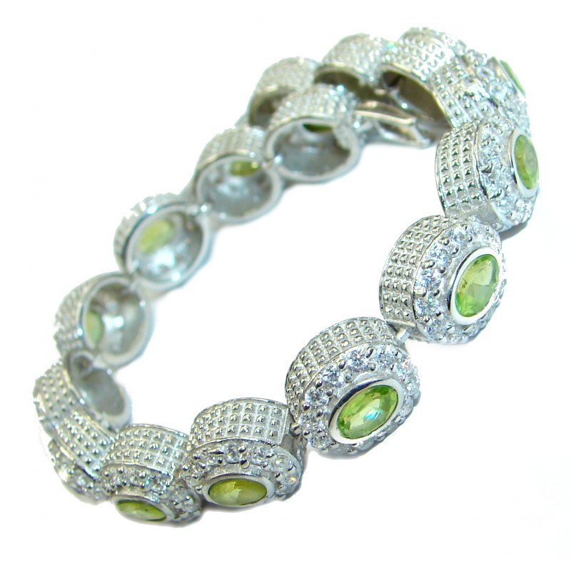 Authentic Peridot White Topaz .925 Sterling Silver handmade Bracelet