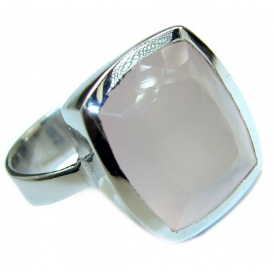 Best Quality Rose Quartz .925 Sterling Silver ring s. 7