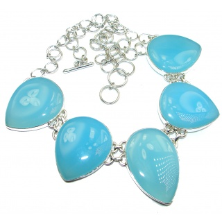 Aura Of Beauty Genuine Chalcedony Agate .925 Sterling Silver handmade necklace