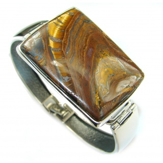 Simply Gorgeous Golden Tigers Eye .925 Sterling Silver handcrafted Bracelet