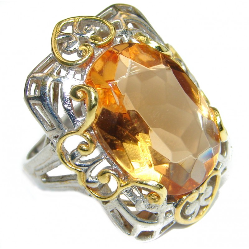 Golden Quartz two tones .925 Sterling Silver handcrafted Ring s. 7 1/2