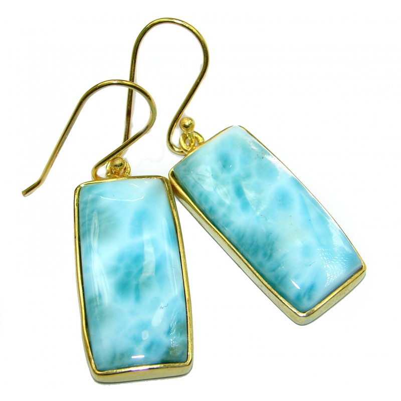 Blue Larimar Gold over .925 Sterling Silver handcrafted earrings