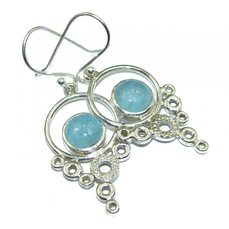 Fancy Style genuine Aquamarine .925 Sterling Silver handmade earrings