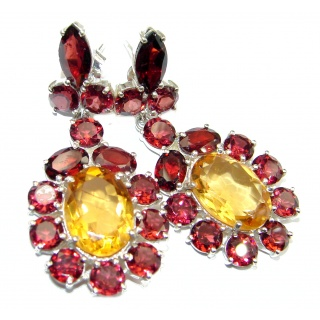 Spectacular Authentic Citrine Garnet .925 Sterling Silver handmade earrings