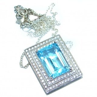 Luxury Swiss Blue Topaz .925 Sterling Silver handcrafted necklace
