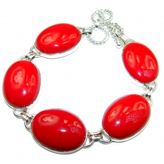 Huge Precious Red Fossilized Coral .925 Sterling Silver handcrafted Bracelet