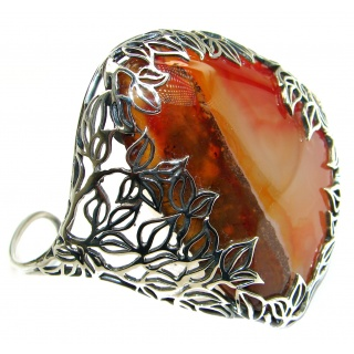 Huge Orange Fire Botswana Agate oxidized .925 Sterling Silver Cuff/Bracelet