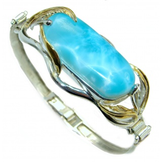 Perfect Harmony Blue Larimar 14K Gold over .925 Sterling Silver handcrafted Bracelet