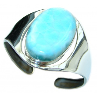 Perfect Harmony Blue Larimar .925 Sterling Silver handcrafted Bracelet / Cuff