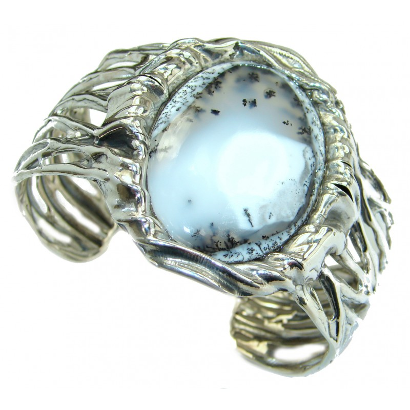 Huge Dendritic Agate Oxidized 925 Sterling Silver