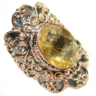 Natural 25 ct. Citrine 14K Gold over .925 Sterling Silver handcrafted Ring s. 7 adjustable