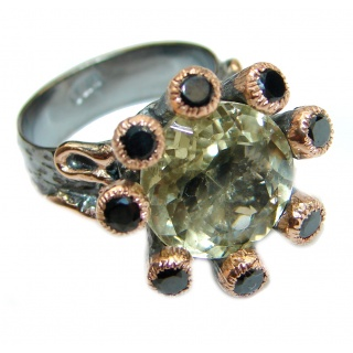 Natural 25 ct. Citrine 14K Gold over .925 Sterling Silver handcrafted Ring s. 6 1/4