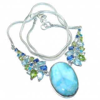 Great Masterpiece genuine Larimar Kyanite .925 Sterling Silver handmade necklace