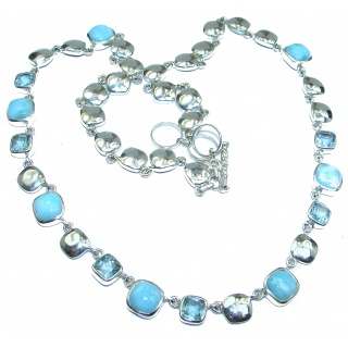Ocean Inspired genuine Larimar Swiss Blue Topaz .925 Sterling Silver handmade necklace