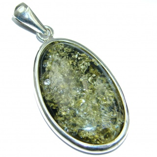 Natural Baltic Green Amber .925 Sterling Silver handmade Pendant