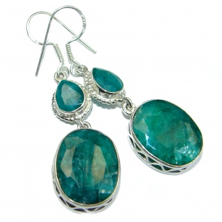 Bohemian Style Emerald .925 Sterling Silver handcrafted Earrings
