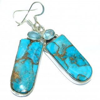 Solid Copper vains in Blue Turquoise .925 Sterling Silver earrings