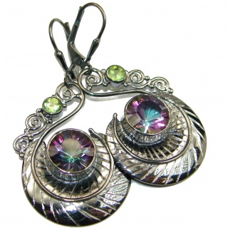 Rainbow Magic Topaz Gold over .925 Sterling Silver handmade earrings