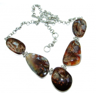 One of the kind Aura Of Beauty Genuine Fire Agate .925 Sterling Silver handmade necklace