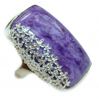 Natural Siberian Charoite .925 Sterling Silver handcrafted ring size 8 1/4