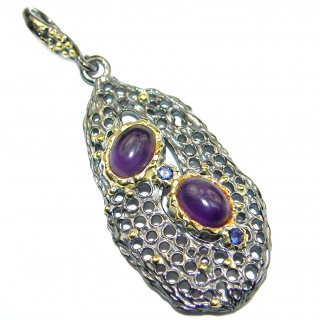 Natural Amethyst Rhodium Gold over .925 Sterling Silver handmade pendant