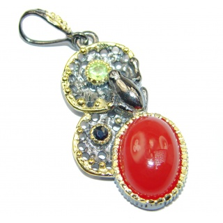 Beautiful authentic Carnelian 14K Gold over .925 Sterling Silver handmade Pendant