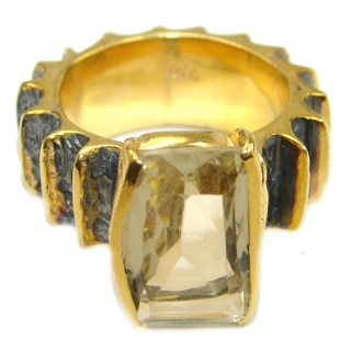 Natural 25 ct. Citrine 14K Gold over .925 Sterling Silver handcrafted Ring s. 7