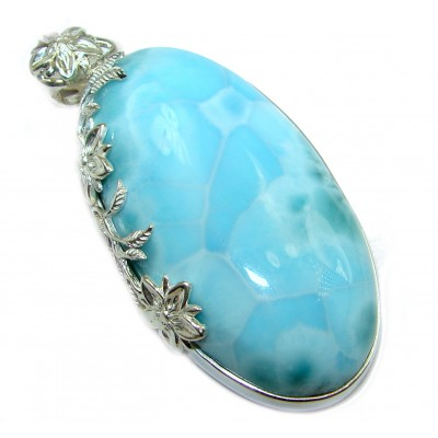 97 ct Royal Blue Larimar .925 Sterling Silver handmade pendant